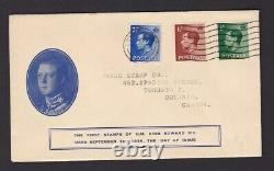 GB KEVIII ½d 1½d 2½d on fine illustrated FDC first day cover 1 Sep 1936