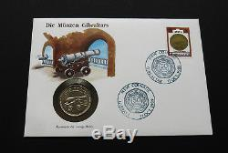 GIBRALTAR 2 POUNDS 1990 CANNON BU COIN Stamps Cover £2 PENCE FDC GRADE