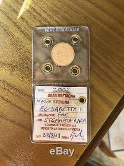 GRAN BRETAGNA MEZZA STERLINA 2002 ORO ELISABETTA II STEMMATA RARA sigillata FDC