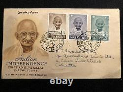 Gandhi Indian Independence Stamps First Day Cover (15 Aug 1948)