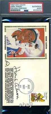 Hank Aaron PSA DNA Coa Signed 1982 HOF FDC Cache Autograph