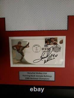 Herschel Walker Framed Jersey Auto Signed Fdc 1/1 Georgia Bulldogs Wow