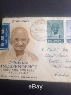 INDIA 1948 MAHATMA GANDHI GHANDI FULL SET TO Rs 10 FIRST DAY COVER FDC -RARE