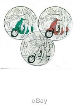 ITALIA 2019 monete da 5 EURO Argento FDC VESPA Eccellenze Italiane TRITTICO