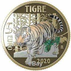 ITALIA 2020 moneta da 5 EURO FDC ANIMALI IN VIA DI ESTINZIONE TIGRE