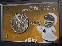 ITALIA 2020 moneta da 5 EURO FDC PIZZA E MOZZARELLA SERIE CULTURA ENOGASTRONOMIC