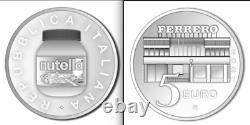 ITALIA 2021 moneta da 5 EURO Argento FDC NUTELLA TRITTICO (verde+rossa+bianca)