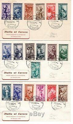 ITALIA FDC VENETIA 1950 ITALIA AL LAVORO su 3 buste FDC