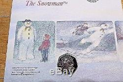 Isle of Man 50p Christmas Coin Snowman and James coin first day cover BUNC