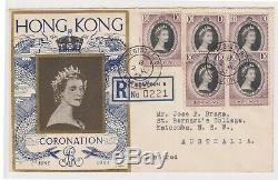 (K160-11) 1953 Hong Kong FDC QEII Coronation 10c x5 stamps Reg no. 022 to Au (K)