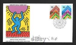 Keith Haring Signed Fdc 1985 Wfuna. Canceled And Stamps. Mint