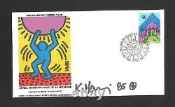 Keith Haring Signed (wfuna) First Day Of Issue. Stamped And Canceled. Gem