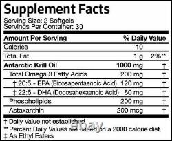 Krill Oil 1000mg with Omega-3s EPA, DHA and Astaxanthin 300 Softgel (5 PACKS)