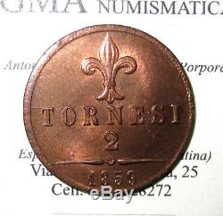 L18/301 NAPOLI Francesco II 2 TORNESI 1859 eccezionale FDC RAME ROSSO periziato