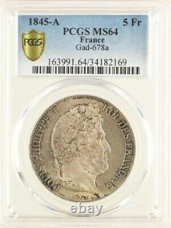 Louis-Philippe 5 Francs 1845 Paris Fleur de Coin PCGS MS64 Plus Haut Grade