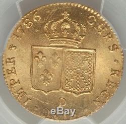 Louis XVI Double louis d'or à la tête nue 1786 D Lyon 2nd Sem PCGS MS64 FDC