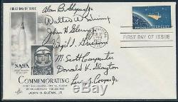 MERCURY 7 ON FDC CACHET 2/20/1962 XF-SUPERB With ASTRONAUTS ALL 7 SIGNED WLM6425