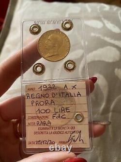 MONETA ORO REGNO D' ITALIA 100 LIRE PRORA 1932 ANNO X RARA sigillata FDC