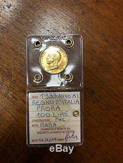 MONETA ORO REGNO D' ITALIA 100 LIRE PRORA 1933 ANNO XI RARA sigillata FDC