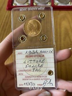 MONETA ORO REGNO DITALIA 50 LIRE LITTORE 1931 IX sigillata FDC