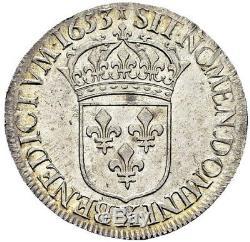 Magnifique Ecu à la mèche longue Louis XIV 1653 X Amiens Qualité FDC