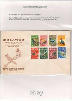 Malaya/malaysia 1965 National Birds Series Complete Set On Fdc Pmk Singapore