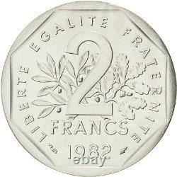 Monnaies, Vème République, 2 Francs Semeuse, 1982, Piéfort Argent, KM #81603