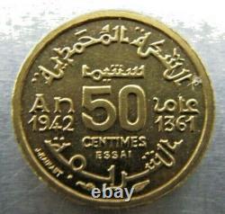 Morocco KM-PEA1 50 Centimes 1942 Piefort Essai, FDC