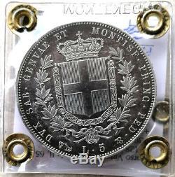 N20 SARDEGNA Vitt. Eman. II 5 LIRE 1850 Genova FDC ECCEZIONALE PATINA Montenegro