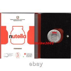 NEW! 5 EURO Argento FDC ITALIA 2021 NUTELLA Ferrero Rossa NEW