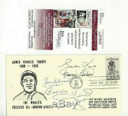NHL Hockey Hall of Famers Autographed First Day Cover (5) Howe, Orr, Hull, Rocket