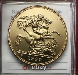 NL Inghilterra Elisabetta II 5 STERLINE oro Gold 1999 FDC/B. UNC Perizia Filisin