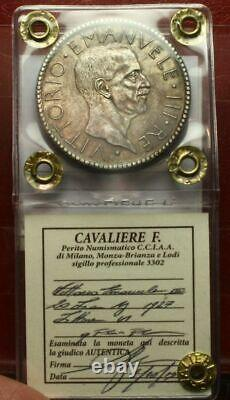 NL VEIII 20 Lire Argento LITTORE 1927 Q. FDC/FDC Periziata Cavaliere Francesco