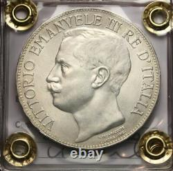 NL VEIII 5 Lire Argento 1911 Cinquantenario RARA Q. FDC Perizia Filisina Massimo