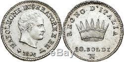 Napoleone I 10 Soldi 1808, contorno in rilievo, FDC eccezionale fondi speculari