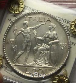Nl Veiii 20 Lire Argento Littore 1928 Raro Q. Fdc Perizia Grimoldi Fabio