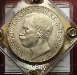 Nl Veiii 5 Lire Argento 1911 Cinquantenario Spl/fdc Perizia Emilio Tevere