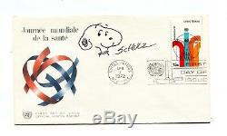ORIGINAL Signature CHARLES SCHULZ & Sketch of SNOOPY Peanuts 1972 FDC w COA