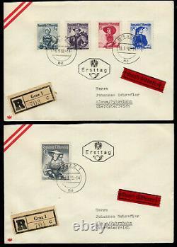 Österreich 893,900,911,918,926, 5 Werte Trachten 1950 auf 2 R-Eilboten-FDC