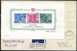 POLEN 1948 BLOCK11 FDC in die USA 1400++Z7448b