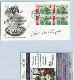 Paul Bear Bryant Autographed First Day Cover JSA COA Alabama Football Coach