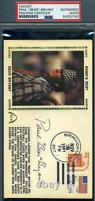 Paul Bear Bryant PSA DNA Coa Hand Signed 1981 Alabama FDC Cache Autograph