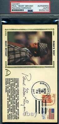 Paul Bear Bryant PSA DNA Coa Hand Signed 1981 Alabama FDC Cache Autograph