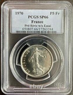 Pre-serie Du 5 Francs Semeuse Nickel 1970 -type 10g Petit Module Pcgs Sp66