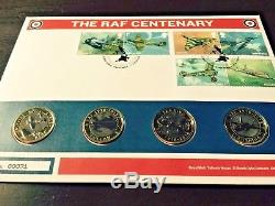 RAF Centenary 4x £2 Pound Coin First Day Cover FDC Spitfire King Very Low Number
