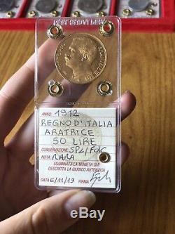 REGNO D' ITALIA 50 LIRE ARATRICE 1912 RARA ORO sigillata SPL/FDC SUBALPINA