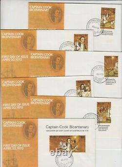 Rare Captain Cook set 6 imperforated stamps cut from mini sheet official FDC's