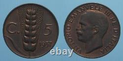 Regno D'italia Vitt. Emanu. III Raro 5 Centesimi 1937 Spiga Fdc Rosso