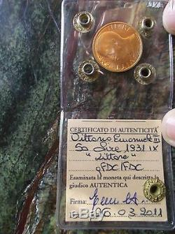 Regno D'italia XIII 50 Lire 1931 IX Littore Fdc Oro Gold Au Or Periziato Tevere