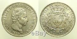 Regno di Sardegna Carlo Felice 5 Lire 1827 Genova FDC Ag